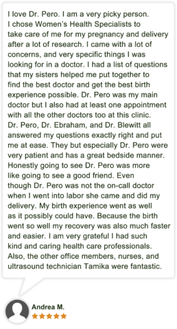 Patient review for Roxanne Pero